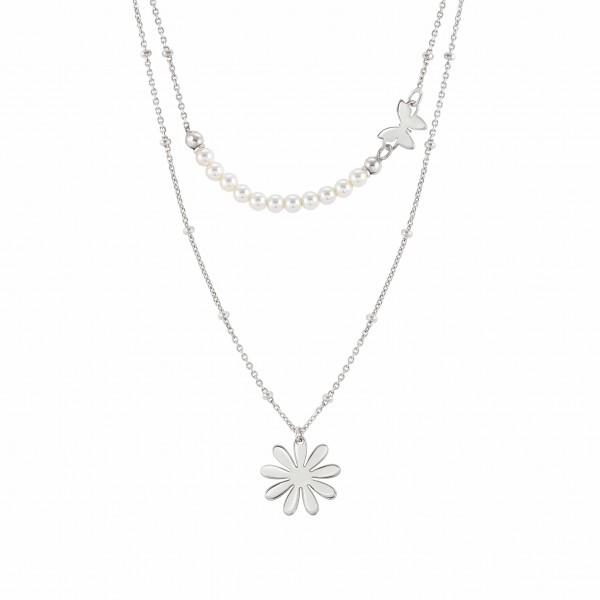 Nomination-Kette Melodie Blume und Perlen