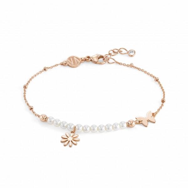 Nomination-Armband Melodie Blume und Perlen