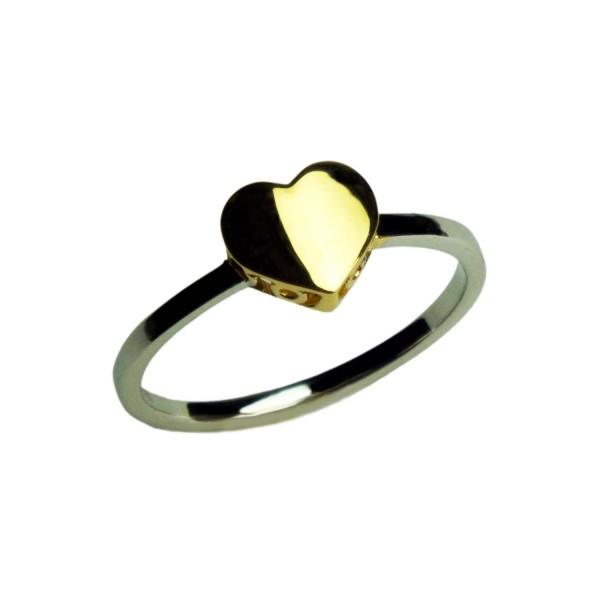 Damenring mit Herz Weißgold und Gelbgold 585/000