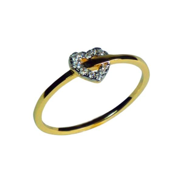 Damenring mit Herz Gelbgold 585/000 mit Zirkonia